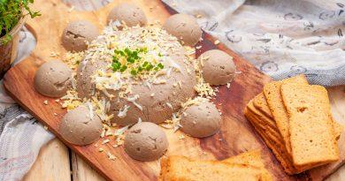 Рецепт закуски из жареного картофеля с печеночным паштетом