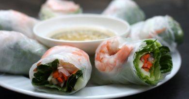 спринг-роллы с креветками и овощами